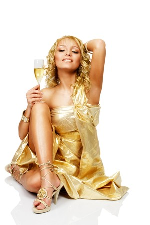 Young blonde beautiful woman with champagne glass photo