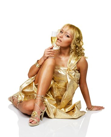 Young blonde beautiful woman with champagne glass