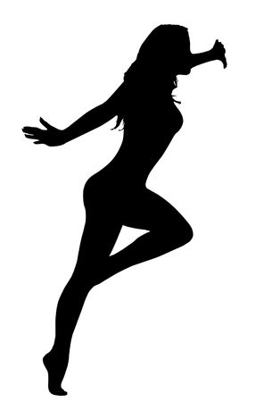 Dancing woman silhouette isolated over white photo