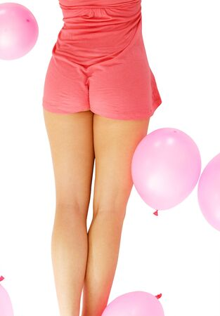 Woman backside with pink air balloons isolated over white Stock Photo