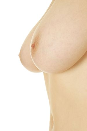 nipple breast: Beautiful female breast isolated over white