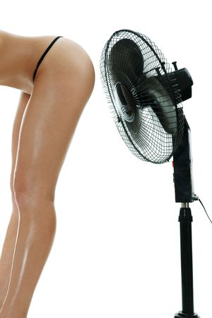 waft: female body under fan waft isolated over white