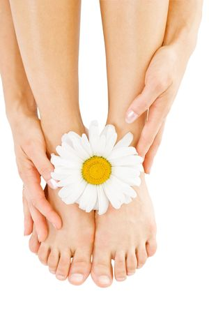 woman foot: Sexy legs with camomile flower isolated over white