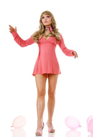 doll: Beautiful blonde woman posing like mannequin