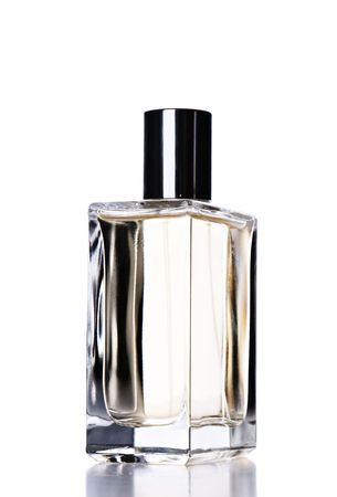 hygienics: Perfume flask with cologne isolated over white background Stock Photo