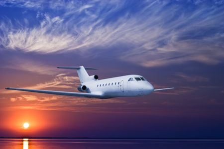 airliner: Airliner flying in high altitude at dusk