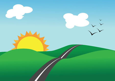 Vector illustration of summer landscape and road Stock Vector - 5538889