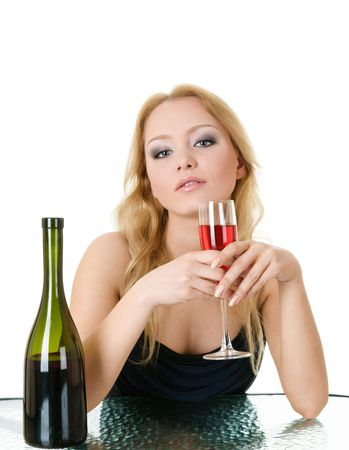 Elegant woman with wine in hands in cafe isolated over white photo