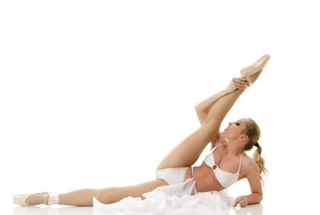Ballet dancer isolated over white background photo
