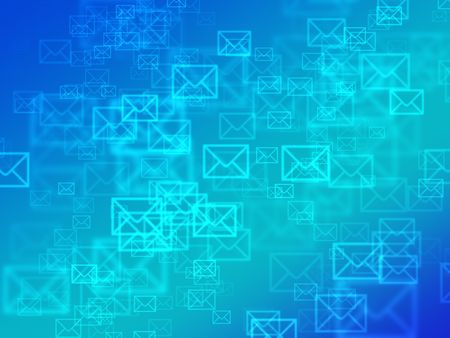 Abstract tech blue background with bokeh mail envelopes