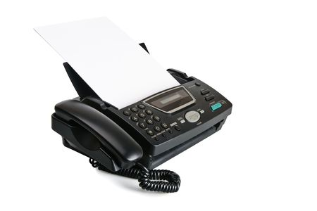 fax machine: Fax machine with document isolated over white background