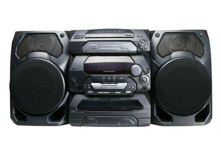 hifi: Compact stereo system cd and cassette player with radio isolated on white background