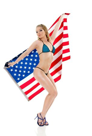 american sexy girl: Pin-Up style sexy girl in lingerie with american flag isolated on white background Stock Photo