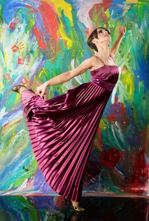Beautiful elegant woman dancing classic ballet dance against abstract background photo