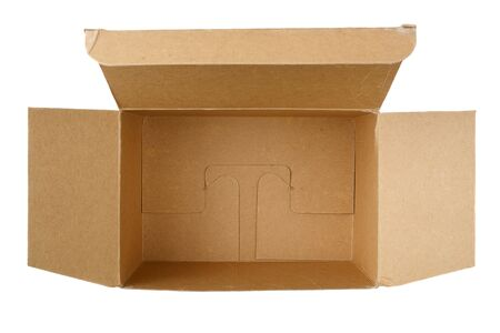 Open brown cardboard box upper view isolated on white background Stock Photo - 6612969