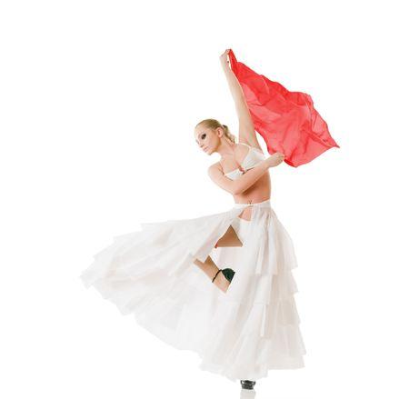 Beautiful ballerina dancing classic dance isolated on white background photo