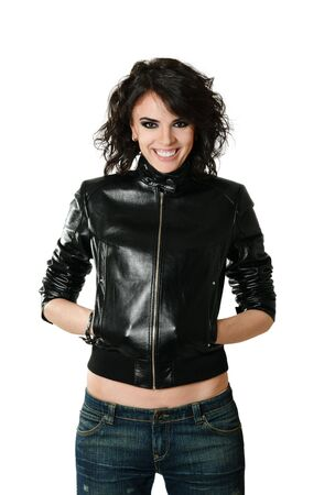 Happy smiling woman in leather jacket photo