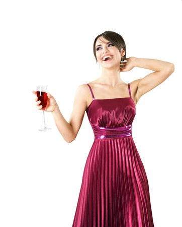 Happy young beautiful smiling woman with glass of wine photo