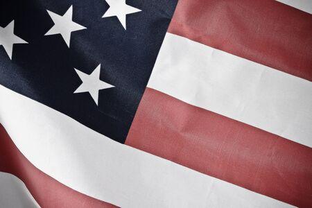 Flying american flag photo