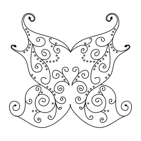 symmetric: Vector abstract ornamental shape sketch of butterfly