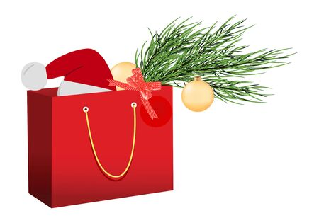 resale: Christmas red shopping bag vector isolated over white baground