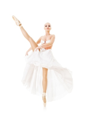 Smiling woman dancing classic ballet isolated over white background Stock Photo - 8596370