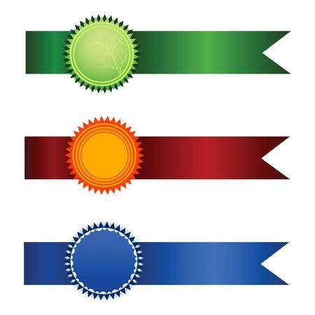 premio cinta: Conjunto de satisfacci�n garantizada de vector de etiquetas aisladas sobre fondo blanco