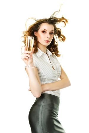 Young ginger beautiful woman with champagne glass photo