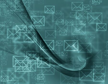 flying object: Abstract design of mail envelopes flying in cyberspace Stock Photo