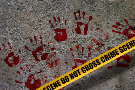 scene of a crime: Bloody red palm prints over stone background at crime scene illustrating crime scene concept Stock Photo