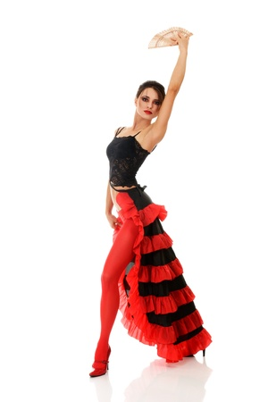 fan dance: Beautiful woman dancing tango Stock Photo