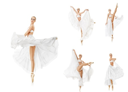Set of photos smiling woman dancing classic ballet isolated over white background photo