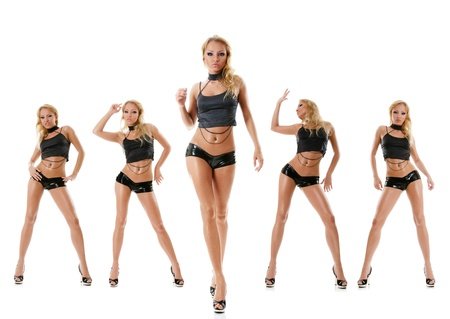 Collection photos of sexy dancing young woman isolated over white background Stock Photo