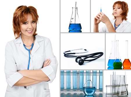Set of lab and medical objects with friendly doctor in uniform isolated over white background Stock Photo - 9100480