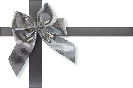 Silver bow and ribbon gift box decoration isolated over white background photo