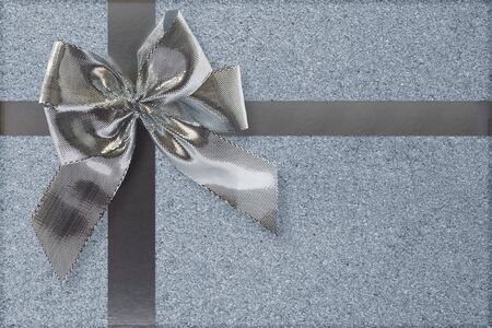 Silver bow and ribbon gift box decoration Stock Photo - 9100486