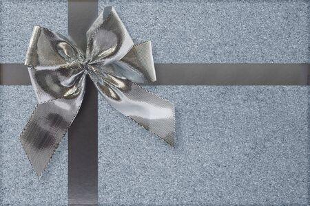 Silver bow and ribbon gift box decoration photo