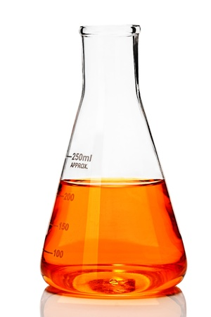 Chemistry conical flask with orange liquid