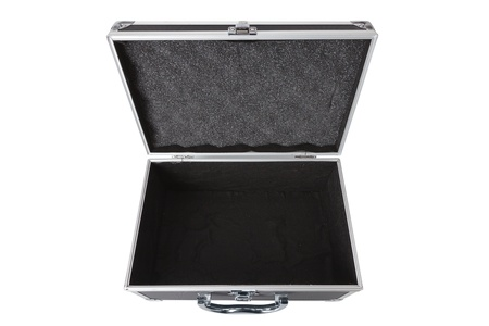 opened bag: Carbon and aluminum safety case isolated over white background Stock Photo