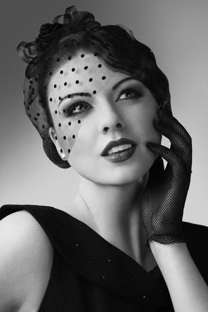 Charming woman touching lips beauty portrait Stock Photo
