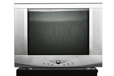 Old TV receiver with crt display isolated over white background photo