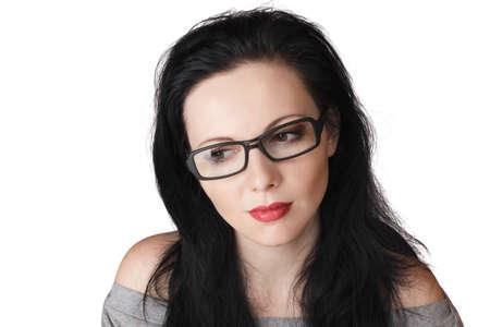 sidewards: Young beautiful woman face looking sidewards