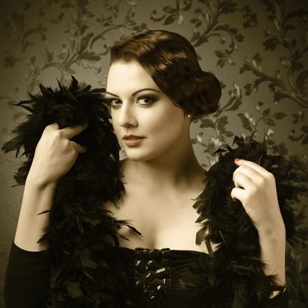 vogue: Retro style portrait of young elegant woman