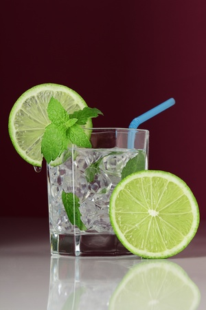 mojito cocktail with mint leaf and lime photo