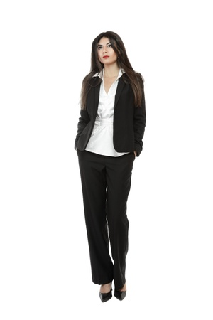 sidewards: Attractive young businesswoman looking sidewards isolated over white background