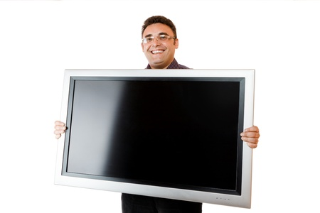 lcd tv: Man holding in hands lcd tv isolated over white background