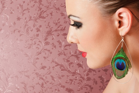 Young woman with fashionable make-up close-up portrait photo