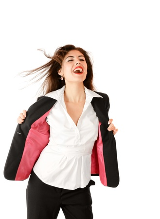 sidewards: Happy young businesswoman laughing under wind