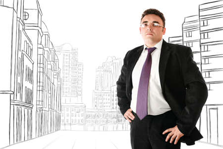 bossy: Serious businesman in glasses looking to camera against abstract sketch of city street