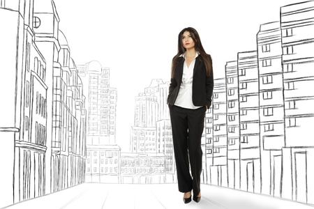 sidewards: Attractive young businesswoman looking sidewards against abstract sketch of city street